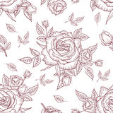 Seamless pattern vintage rose. Floral pattern of roses. Vintage flower background. Vector rose pattern on a white background. Design for card, mothers day Stock Image
