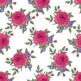 Seamless pattern vintage rose. Vintage seamless pattern flower rose, floral pattern of roses, vector flower background, design for greeting card, womens day Stock Photo