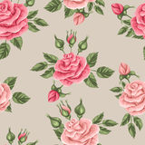 Seamless pattern with vintage roses. Decorative retro flowers. Royalty Free Stock Images