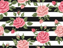 Seamless pattern with vintage roses. Decorative retro flowers. Easy to use for backdrop, textile, wrapping paper, wallpaper Stock Photos