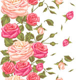 Seamless pattern with vintage roses. Decorative retro flowers. Easy to use for backdrop, textile, wrapping paper. Wallpaper vector illustration