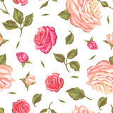 Seamless pattern with vintage roses. Decorative retro flowers. Easy to use for backdrop, textile, wrapping paper Royalty Free Stock Images