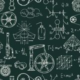 Seamless pattern with vintage science objects. Scientific equipment for physics and chemistry. Royalty Free Stock Photos