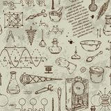 Seamless pattern with vintage science objects. Scientific equipment for physics and chemistry. stock illustration