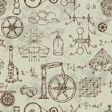Seamless pattern with vintage science objects. Scientific equipment for physics and chemistry. Vector illustration royalty free illustration