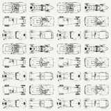 Seamless pattern , vintage sports racing cars. View from above stock illustration