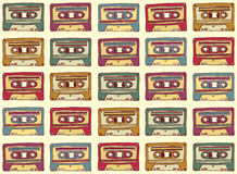 Seamless pattern in vintage style. Old audio. Cassette on a light background. Vector illustration royalty free illustration
