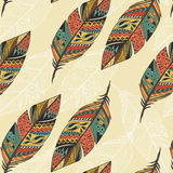 Seamless pattern with vintage tribal ethnic hand drawn colorful feathers Royalty Free Stock Images