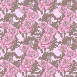 Seamless pattern of vintage violet poppies Royalty Free Stock Photo