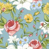 Seamless Pattern with Vintage Wildflowers Stock Image
