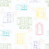 Seamless pattern with vintage windows and flowers. Vector illustration royalty free illustration