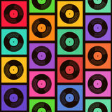 Seamless pattern of vinyl records Stock Photo