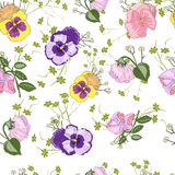 Seamless pattern with viola flower. Floral background with decorative violas stock illustration