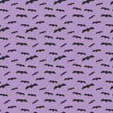 Seamless pattern violet background with black endless bat on halloween festive Royalty Free Stock Images