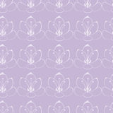Seamless pattern. Violet background with white flowers. saffron flowers. Royalty Free Stock Photos
