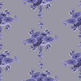 Seamless pattern of violet flowers and leaves on a deep gray background. Geometric. Watercolor Stock Images