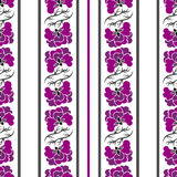 Seamless pattern with violet flowers and strips Royalty Free Stock Photo
