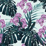 Seamless pattern, violet orchid flower and green blue exotic palm monster leaves on mint background. Vintage style royalty free illustration