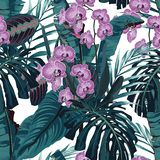 Seamless pattern, violet orchid flower and green blue exotic palm monster leaves on white background. Vintage style vector illustration