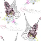 Seamless pattern with violin, Eiffel tower,openwork hearts and flowers Royalty Free Stock Image