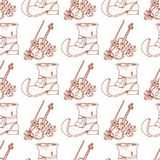 Seamless pattern with violin and old shoes leprechaun vector illustration