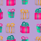 Seamless pattern surround a colorful gift boxes with bows. Seamless pattern from volume bright pink and blue gift boxes with bows for birthday, Christmas or Stock Photography