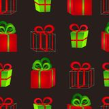 Seamless pattern surround a colorful gift boxes with bows for a birthday or New Year. Seamless pattern from volume bright red and green gift boxes with bows for Royalty Free Stock Images