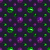 Seamless pattern with volumetric spiral balls vector illustration