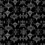 Seamless pattern with Voodoo spirits symbols. Seals of main Voodoo deities. Spiritual, magical, cultura art. Magic cult isolated repetition background. Mystic Royalty Free Stock Photo