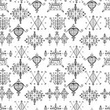 Seamless pattern with Voodoo spirits symbols. Seals of main Voodoo deities. Spiritual, magical, cultura art. Magic cult isolated repetition background. Mystic Royalty Free Stock Photography