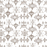 Seamless pattern with Voodoo spirits symbols. Seals of main Voodoo deities. Spiritual, magical, cultura art. Magic cult isolated repetition background. Mystic Stock Images