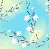 Seamless pattern white flowers on light yellow blue background Stock Image