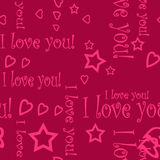 Seamless pattern wallpaper valentine with hearts and text Royalty Free Stock Photo