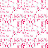 Seamless pattern wallpaper valentine with hearts and text Stock Photo