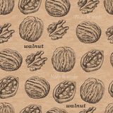 Seamless pattern with walnuts on a vintage background Royalty Free Stock Image