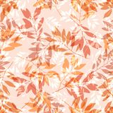 Seamless pattern in warm colors with a picture of the sprigs of trees. Stock Image