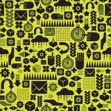 Seamless pattern with watch on green. Royalty Free Stock Photos