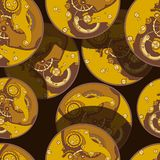 Seamless pattern of watch movements in space. vector illustration