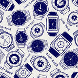 Seamless pattern with watches Royalty Free Stock Image