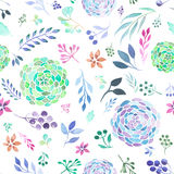 Seamless pattern of watecolor abstract branches, leaves and flowers Royalty Free Stock Photos