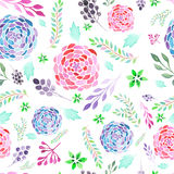 Seamless pattern of watecolor abstract branches, leaves and flowers Royalty Free Stock Photo