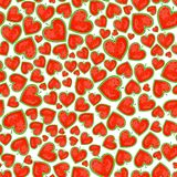 Seamless Pattern With Watelmelons In Heart Shape Royalty Free Stock Photography