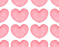 Seamless pattern with water color hearts Royalty Free Stock Photos