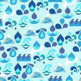 Seamless pattern with water icons in flat design Stock Photos
