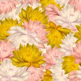 Seamless pattern with water lilies stock photos
