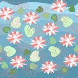 Seamless pattern with water lilies. Stock Photo