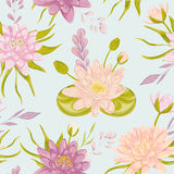 Seamless pattern with water lily. Collection floral decorative design elements. Royalty Free Stock Images