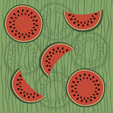 Seamless pattern with water-melon Stock Images