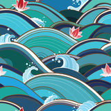 Seamless pattern with water waves and lilies Stock Photography