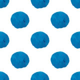 Seamless pattern with watercolor abstract blue circle shapes Stock Photo